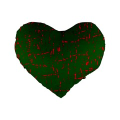Green and red pattern Standard 16  Premium Flano Heart Shape Cushions