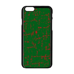Green and red pattern Apple iPhone 6/6S Black Enamel Case