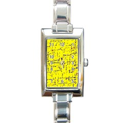 Yellow summer pattern Rectangle Italian Charm Watch