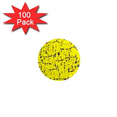 Yellow summer pattern 1  Mini Magnets (100 pack)