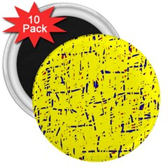 Yellow summer pattern 3  Magnets (10 pack)