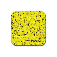 Yellow summer pattern Rubber Coaster (Square)