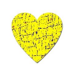 Yellow summer pattern Heart Magnet