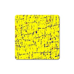 Yellow summer pattern Square Magnet