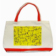 Yellow summer pattern Classic Tote Bag (Red)