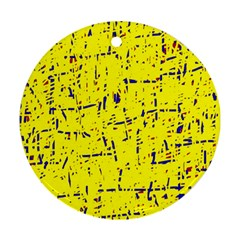 Yellow summer pattern Round Ornament (Two Sides)