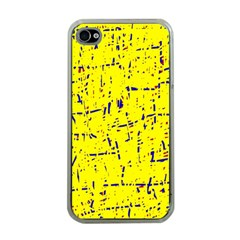 Yellow summer pattern Apple iPhone 4 Case (Clear)