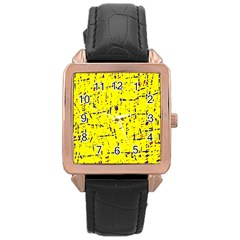 Yellow summer pattern Rose Gold Leather Watch