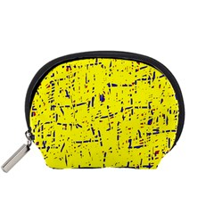 Yellow summer pattern Accessory Pouches (Small)