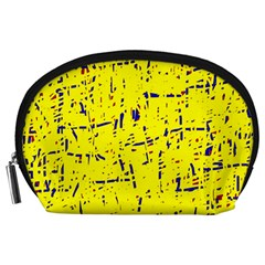 Yellow summer pattern Accessory Pouches (Large)