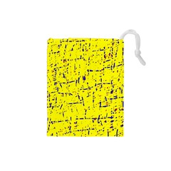 Yellow summer pattern Drawstring Pouches (Small)