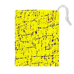 Yellow summer pattern Drawstring Pouches (Extra Large)
