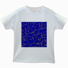 Blue pattern Kids White T-Shirts
