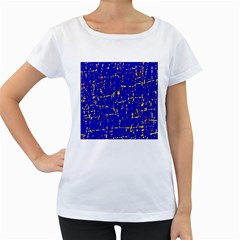Blue pattern Women s Loose-Fit T-Shirt (White)