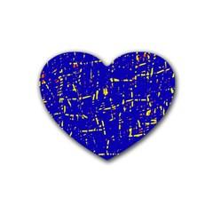 Blue pattern Rubber Coaster (Heart)