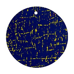 Deep blue and yellow pattern Ornament (Round)