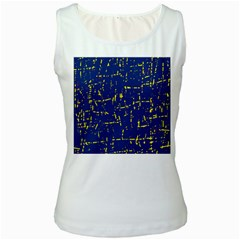 Deep blue and yellow pattern Women s White Tank Top