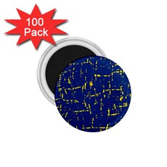 Deep blue and yellow pattern 1.75  Magnets (100 pack)