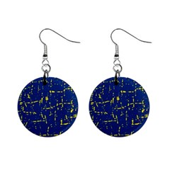 Deep blue and yellow pattern Mini Button Earrings