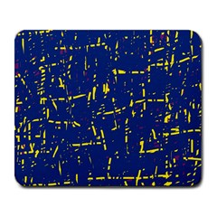 Deep blue and yellow pattern Large Mousepads