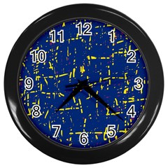 Deep blue and yellow pattern Wall Clocks (Black)
