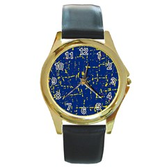 Deep blue and yellow pattern Round Gold Metal Watch
