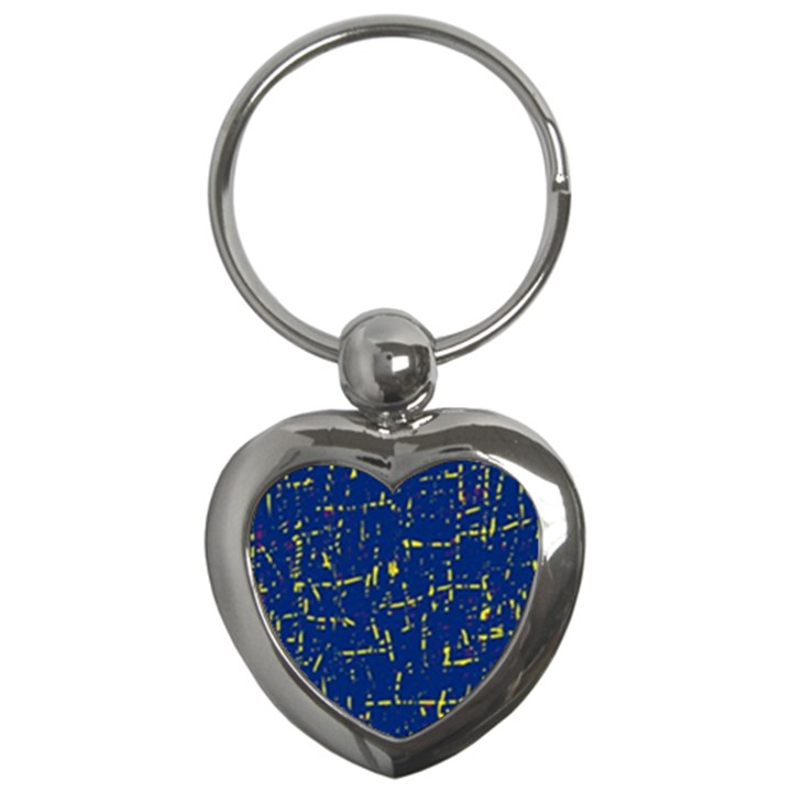 Deep blue and yellow pattern Key Chains (Heart)