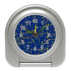 Deep blue and yellow pattern Travel Alarm Clocks
