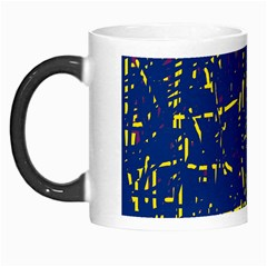 Deep blue and yellow pattern Morph Mugs