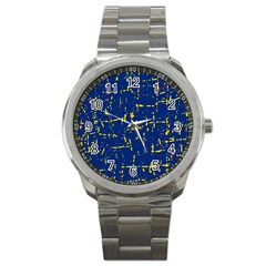 Deep blue and yellow pattern Sport Metal Watch
