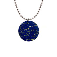 Deep blue and yellow pattern Button Necklaces