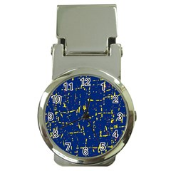Deep blue and yellow pattern Money Clip Watches