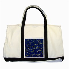 Deep blue and yellow pattern Two Tone Tote Bag