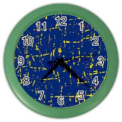 Deep blue and yellow pattern Color Wall Clocks