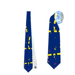 Deep blue and yellow pattern Neckties (Two Side)