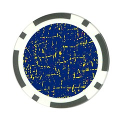 Deep blue and yellow pattern Poker Chip Card Guards