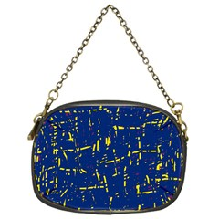 Deep blue and yellow pattern Chain Purses (One Side)