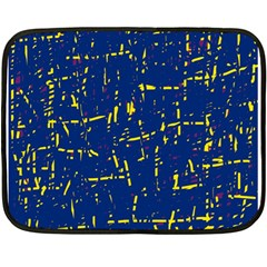 Deep blue and yellow pattern Double Sided Fleece Blanket (Mini)