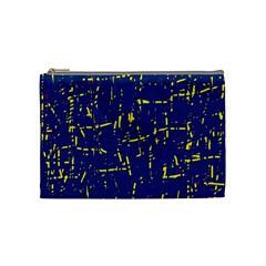 Deep blue and yellow pattern Cosmetic Bag (Medium)