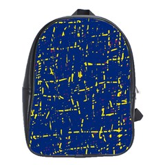 Deep blue and yellow pattern School Bags(Large)