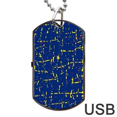 Deep blue and yellow pattern Dog Tag USB Flash (Two Sides)