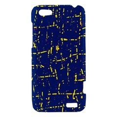 Deep blue and yellow pattern HTC One V Hardshell Case
