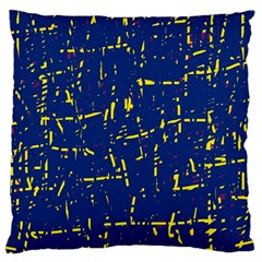 Deep blue and yellow pattern Large Cushion Case (Two Sides)