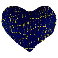 Deep blue and yellow pattern Large 19  Premium Heart Shape Cushions