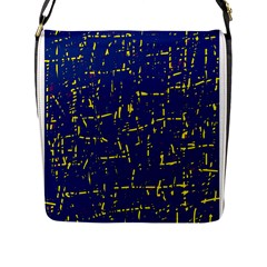 Deep blue and yellow pattern Flap Messenger Bag (L)