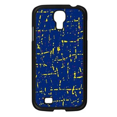 Deep blue and yellow pattern Samsung Galaxy S4 I9500/ I9505 Case (Black)
