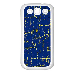 Deep blue and yellow pattern Samsung Galaxy S3 Back Case (White)