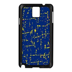 Deep blue and yellow pattern Samsung Galaxy Note 3 N9005 Case (Black)