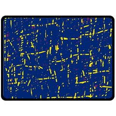 Deep blue and yellow pattern Double Sided Fleece Blanket (Large)