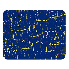 Deep blue and yellow pattern Double Sided Flano Blanket (Large)